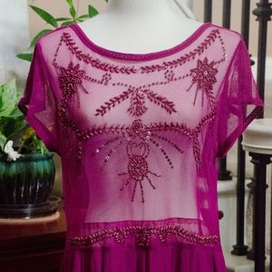 Free People Sheer Beaded Tunic Tunic/Dress